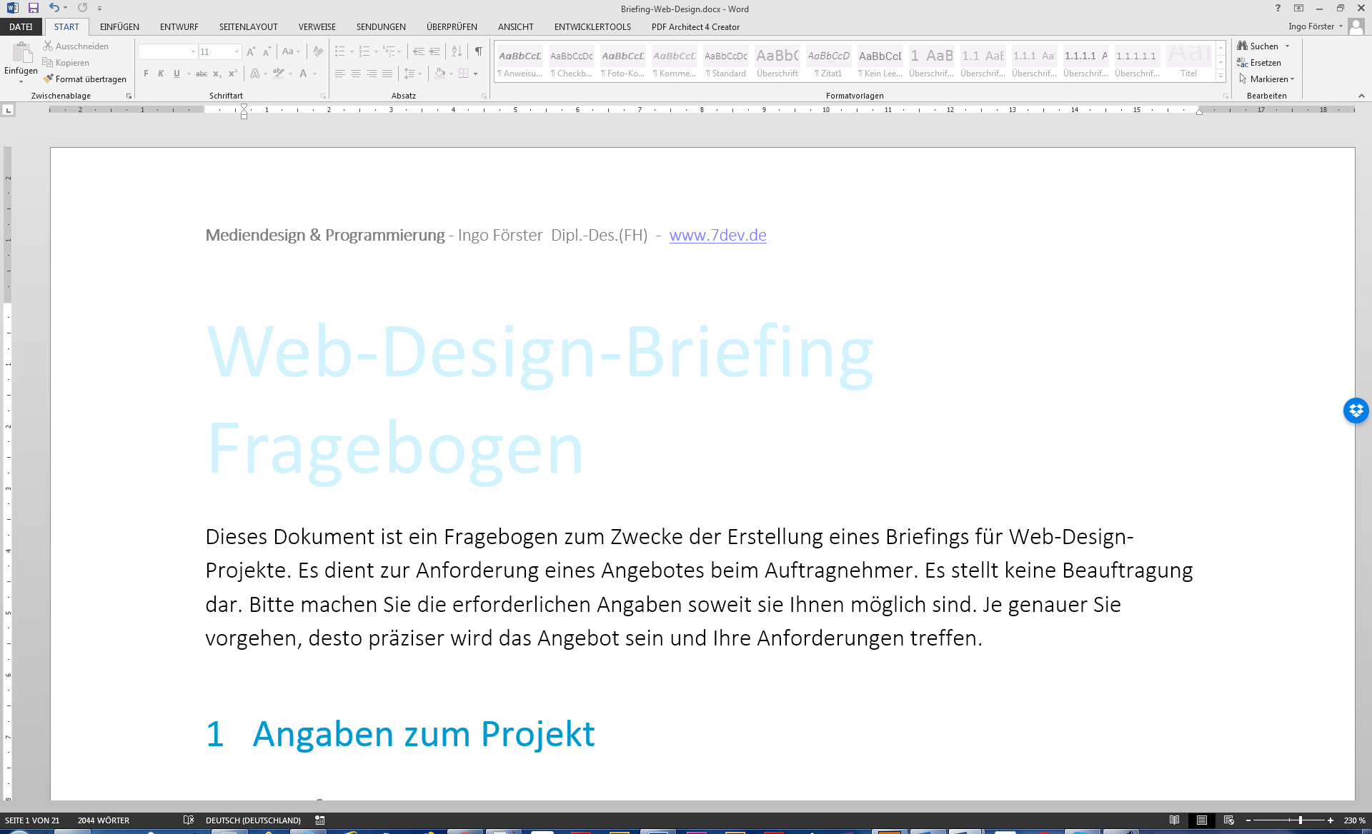 Web-Design-Briefing Word-Vorlage
